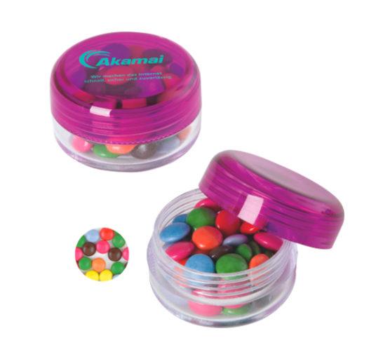 Bote Redondo de Plástico relleno de dulces